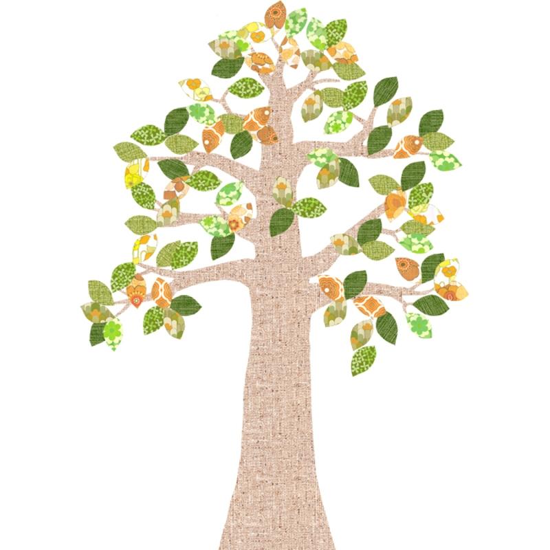 Tapetenbaum natur/orange/grün 230cm