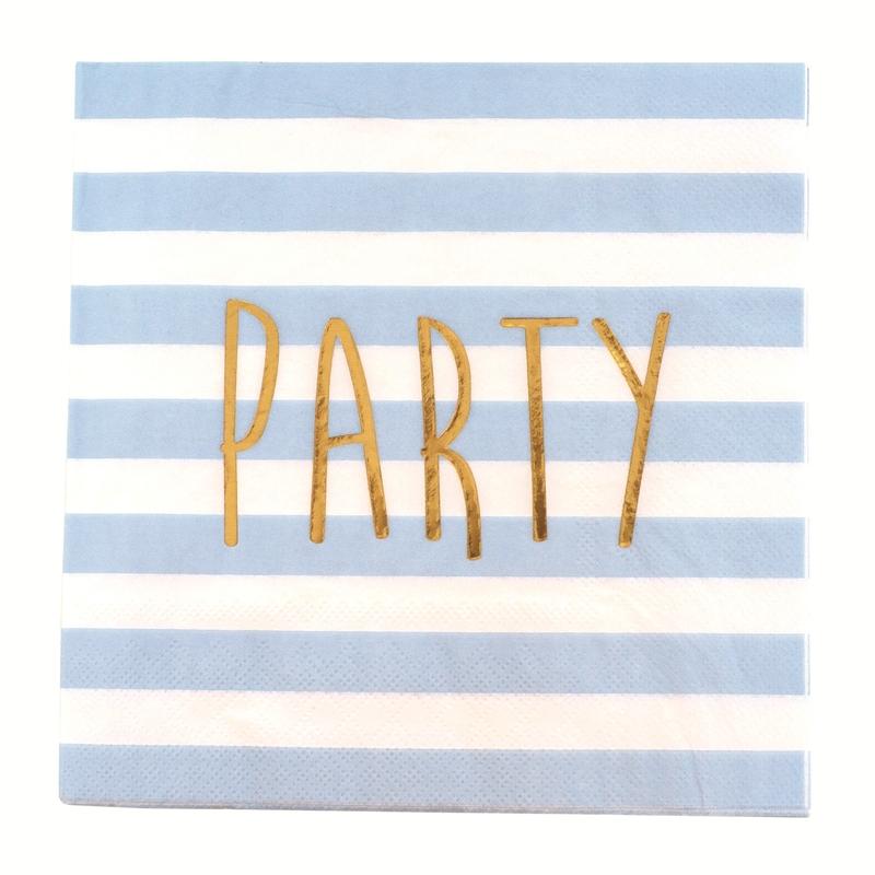 20er Papierservietten Set 'Party' blau/gold