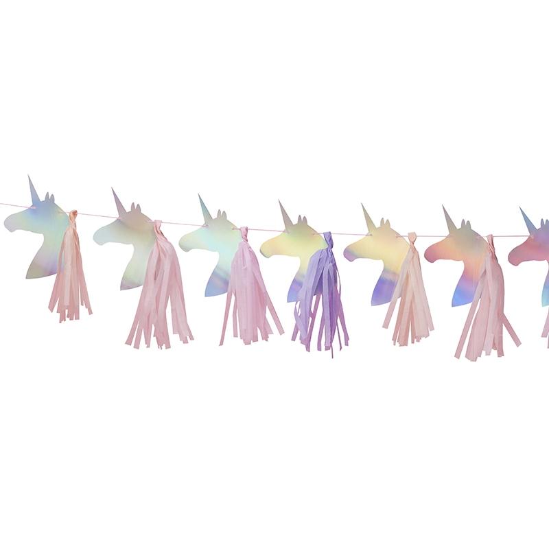 Girlande 'Einhorn' silber/rosa 150cm