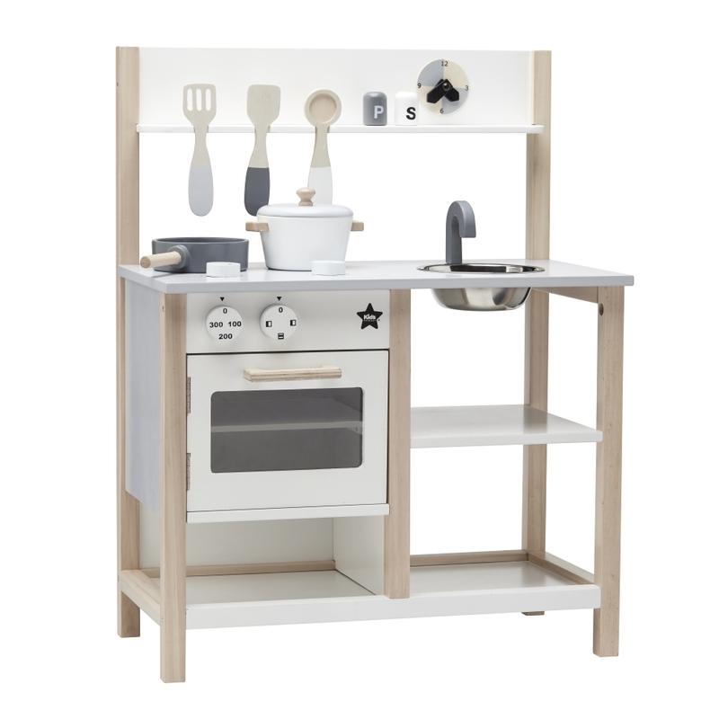 Kinderküche aus Holz weiß/natur ab 3 Jahren