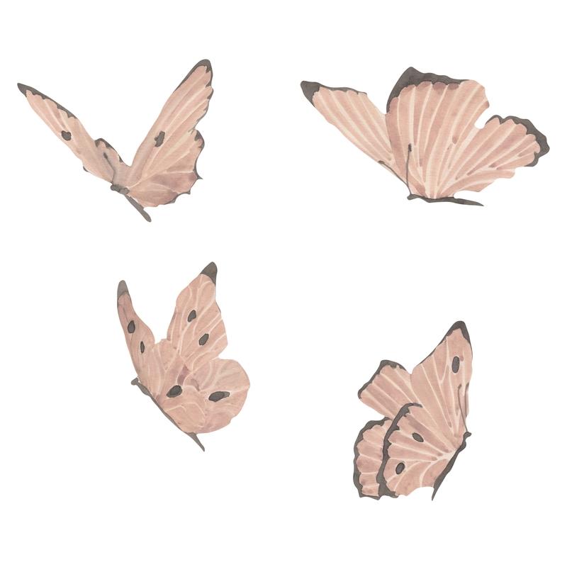 Stoff-Wandsticker 'Schmetterlinge' puderrosa