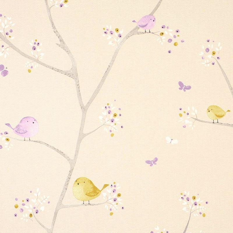 Stoff 'My Little World' Vögelchen beige/flieder