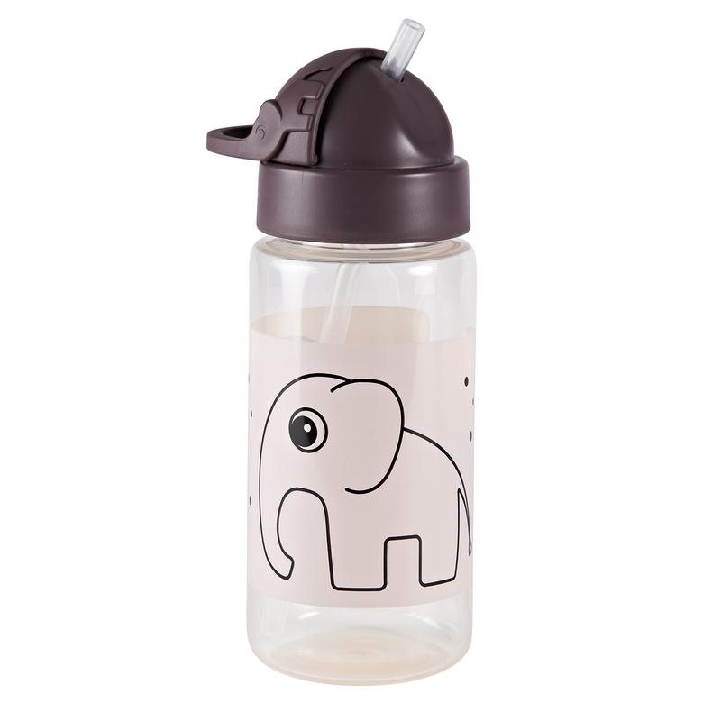 Trinkflasche mit Strohhalm 'Elphee Elefant' altrosa