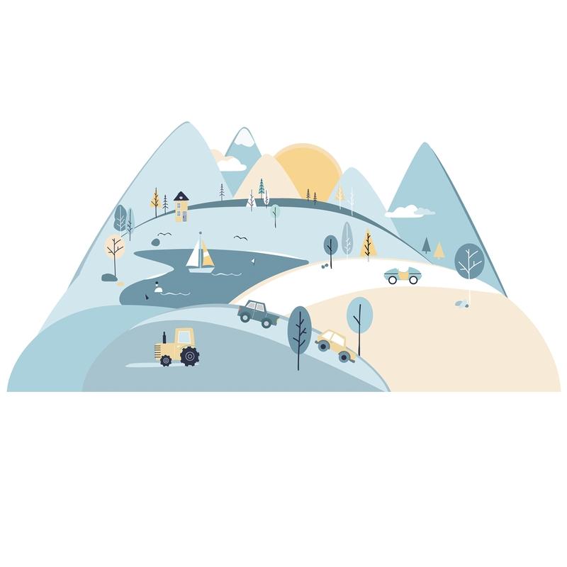 XL-Wandsticker 'Berge' blau/beige