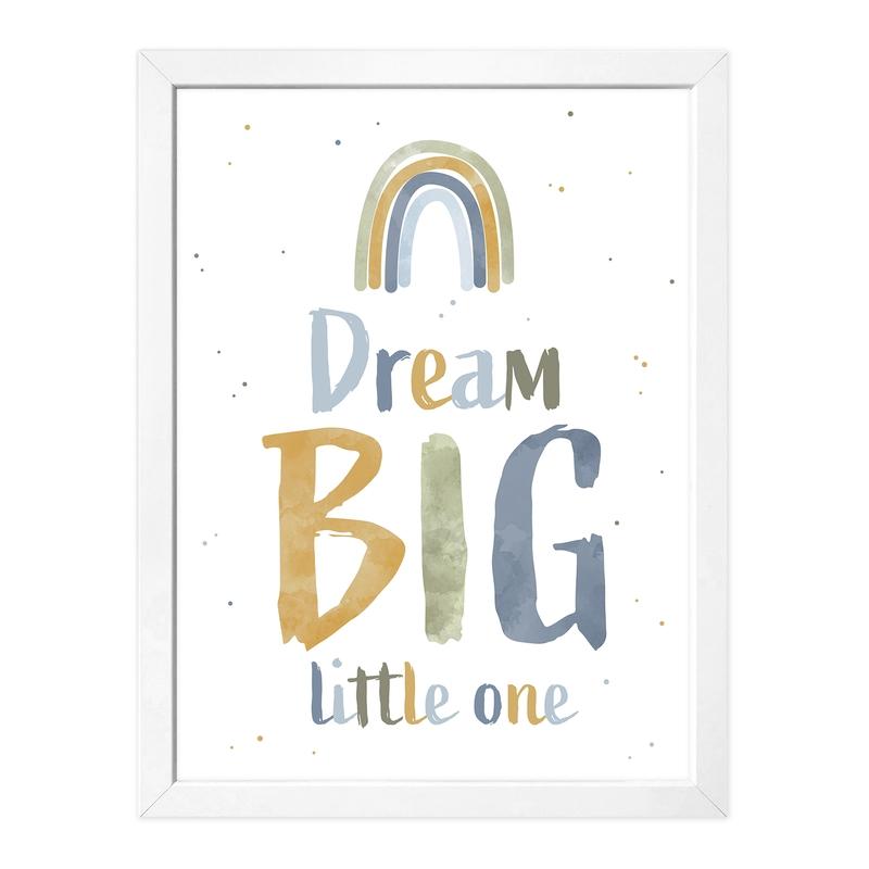 Poster 'Dream big' khaki/blau 30x40cm