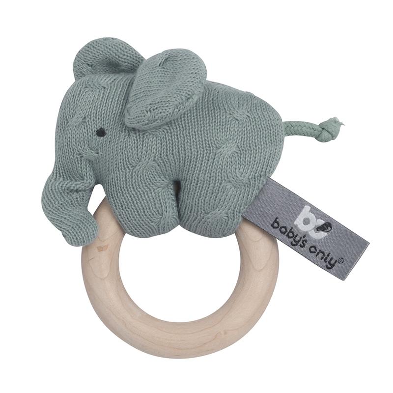 Greifling Elefant 'Zopf' Holz/Strick jade