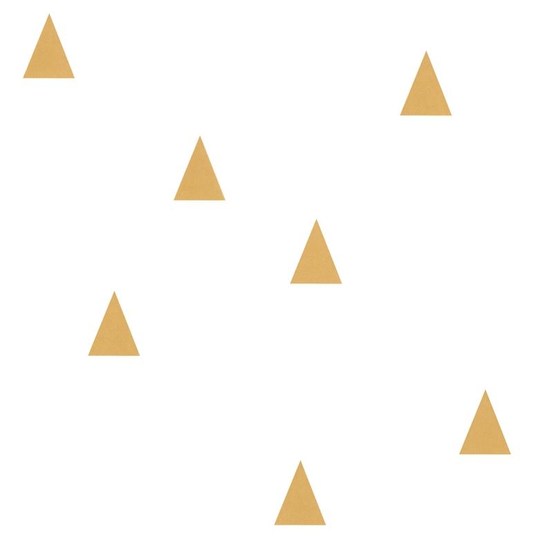 Vliestapete 'Kleine Dreiecke' weiß/gold