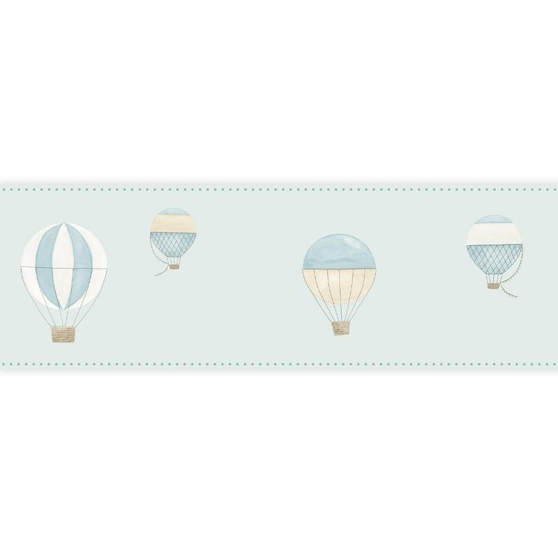 Bordüre 'My Little World' Heißluftballons blau
