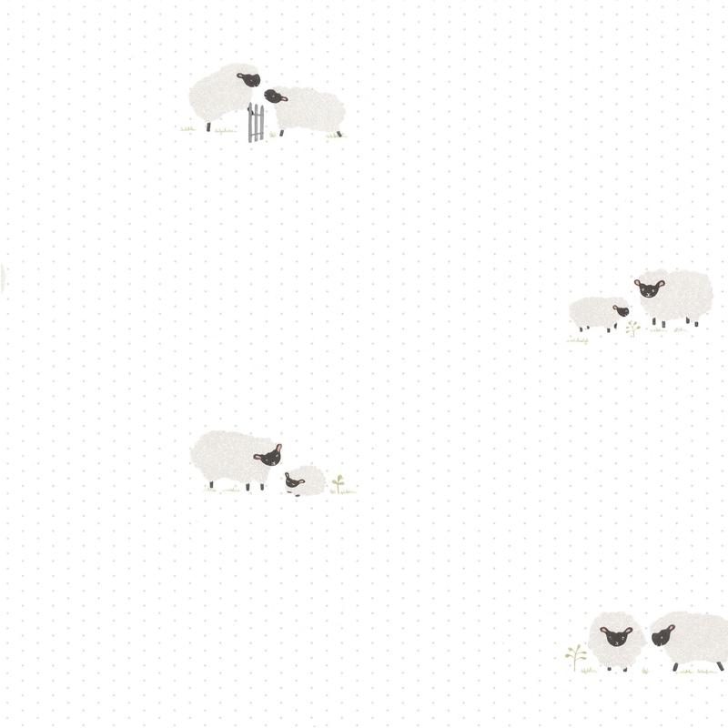 Tapete 'Rose & Nino' Schafe weiß/grau