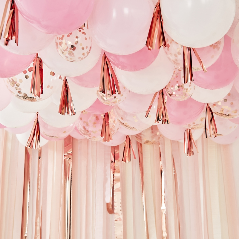 Deckenballons & Quasten 'Mix it Up' rosa