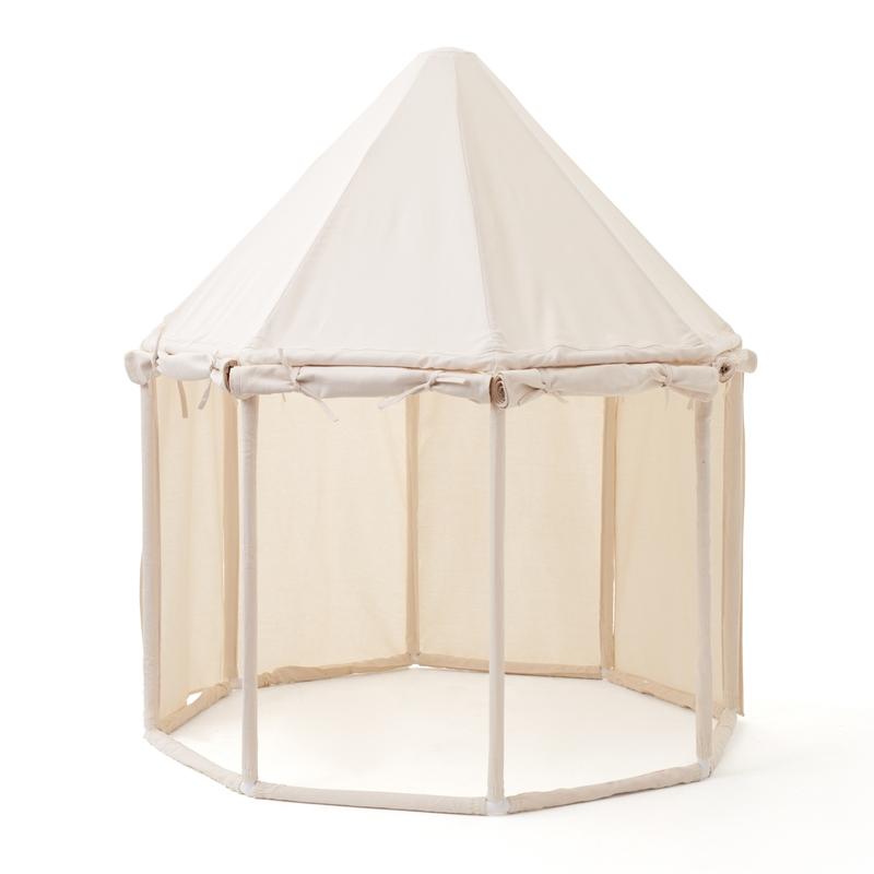 Pavillon aus Holz & Stoff creme 122cm