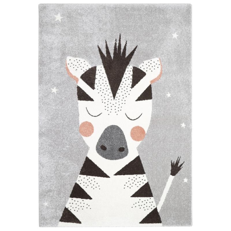 Kinderteppich 'Zebra' grau 120x170cm