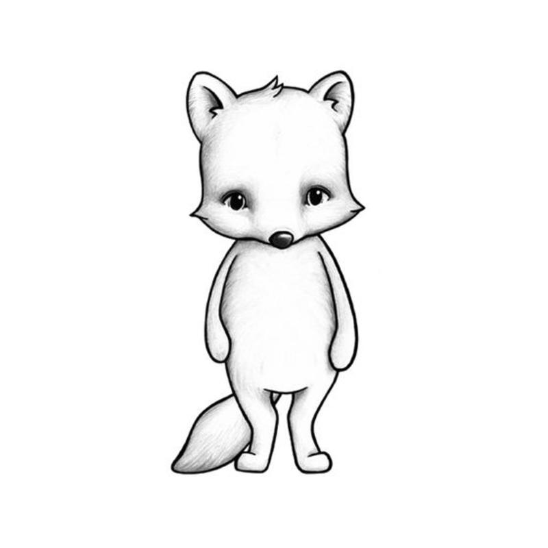 Tier-Wandsticker 'Polarfuchs' handgezeichnet