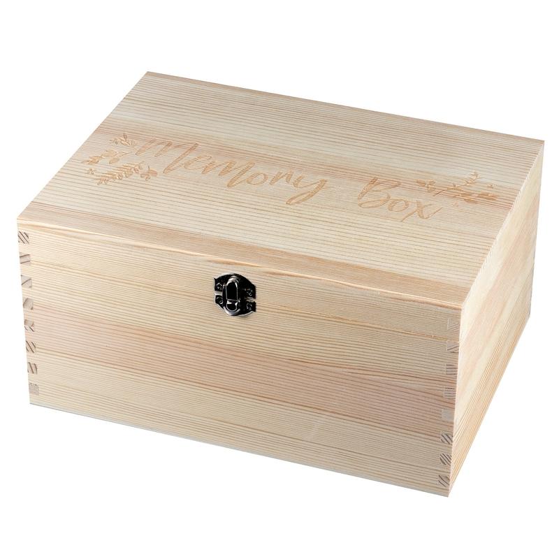 Baby Erinnerungsbox aus Naturholz ca. 28cm