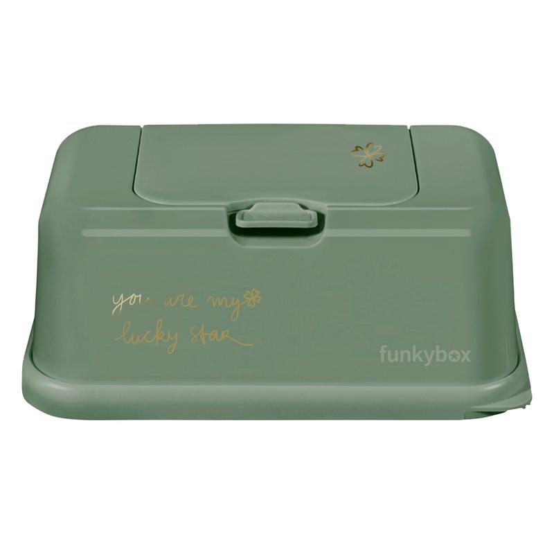 Feuchttücherbox 'Lucky' matt grün/gold