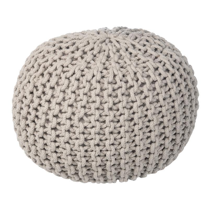 Sitzpuff aus Baumwollstrick grau