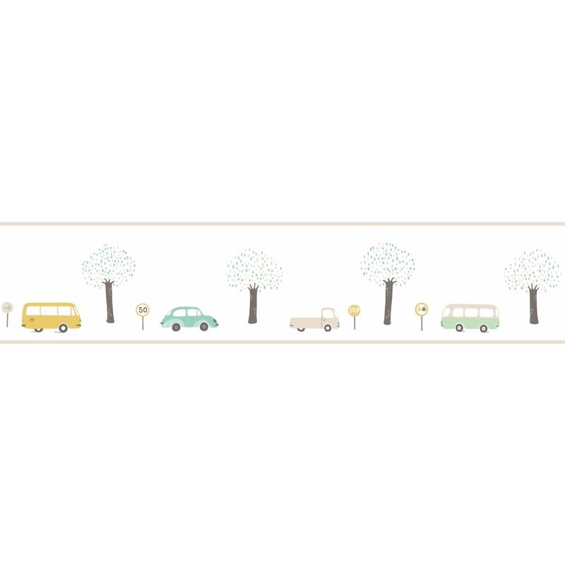 Bordüre 'Happy Dreams' Fahrzeuge mint/ocker