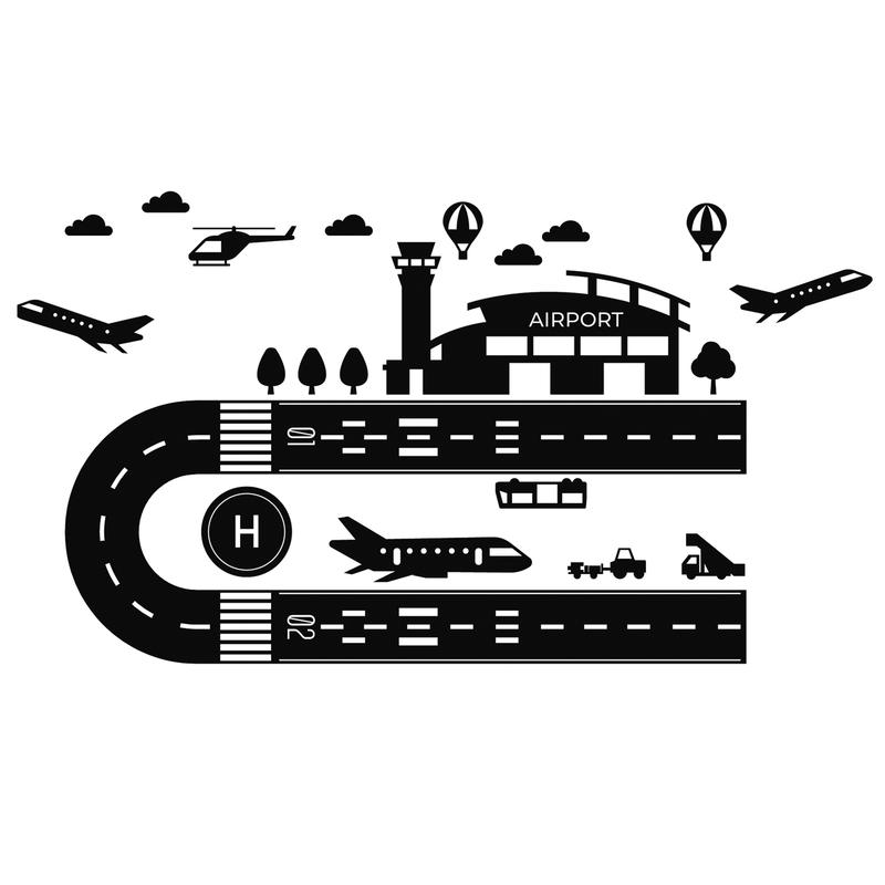 Bodensticker 'Flughafen' schwarz 65x90cm