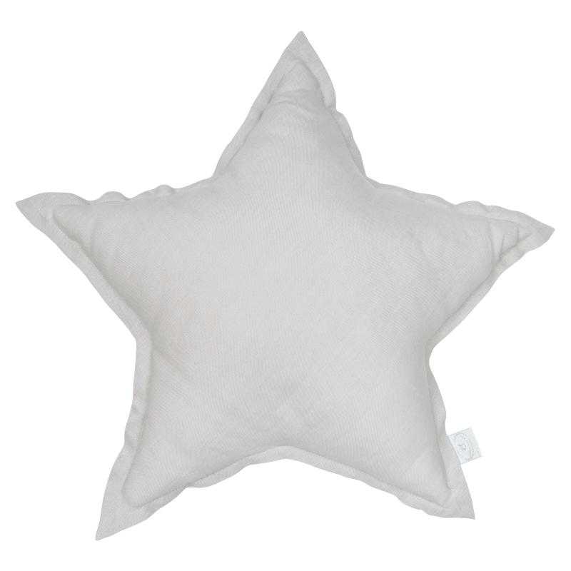 Kissen aus Leinen 'Stern' hellgrau ca. 45cm