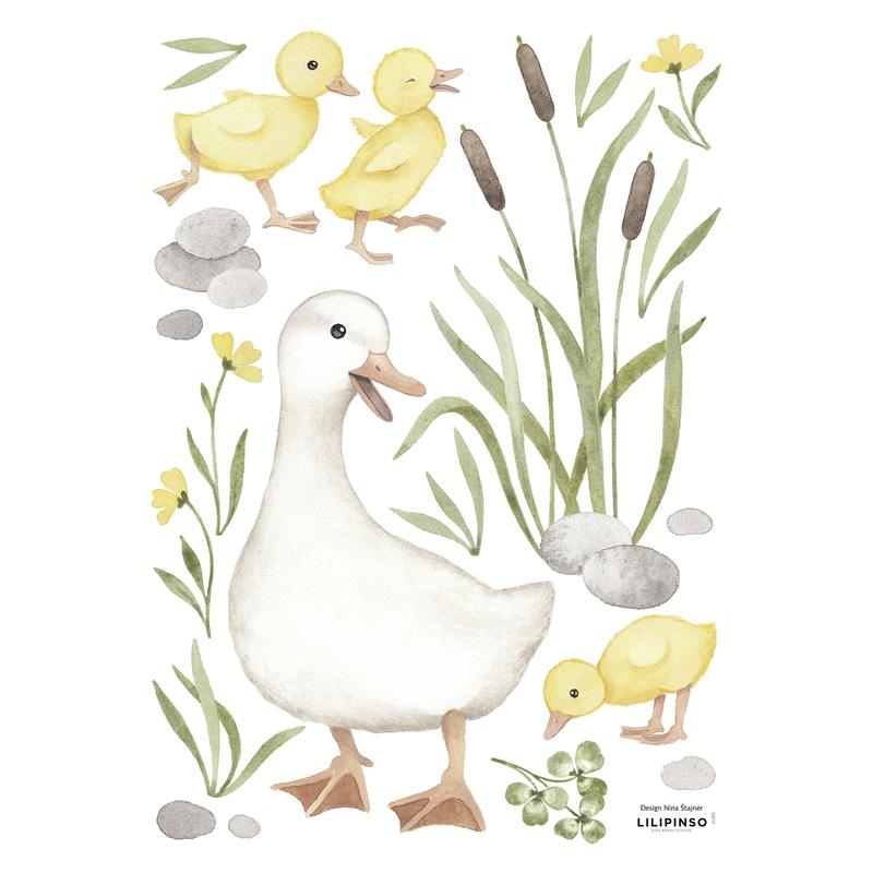 Wandsticker 'Lucky Ducky' Gans & Küken