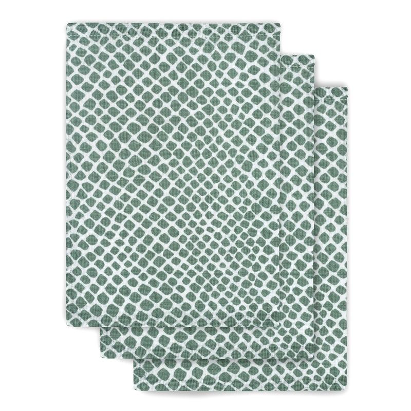 Waschlappen 'Kacheln' 3er Set Musselin grün