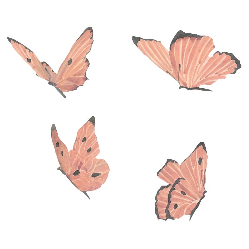Stoff-Wandsticker 'Schmetterlinge' altrosa 4-tlg.