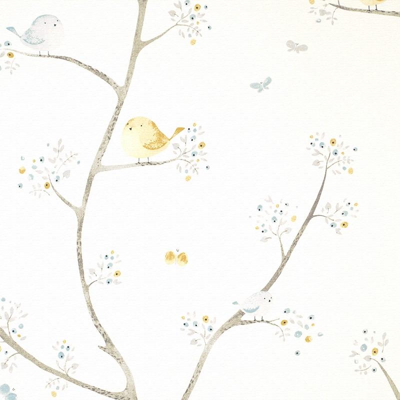 Stoff 'My Little World' Vögelchen rauchblau/beige