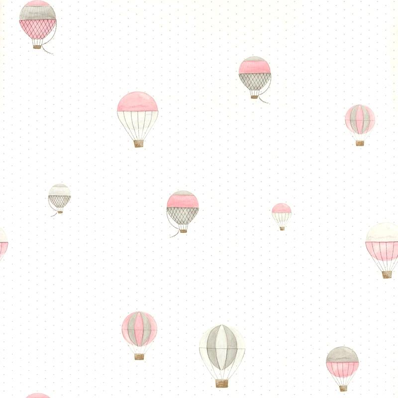 Tapete 'My Little World' Heißluftballons rosa