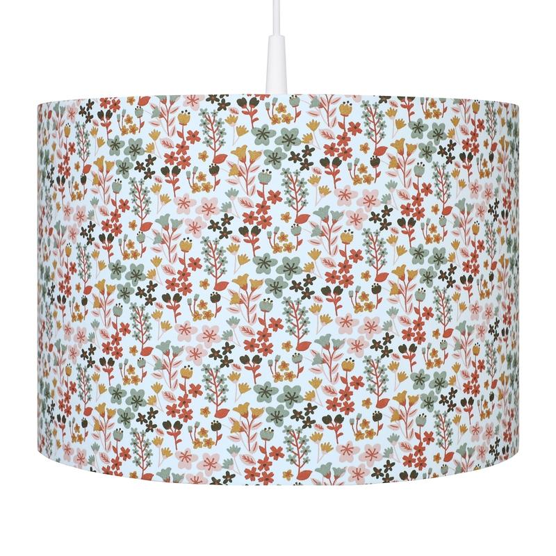 Kinderlampe 'Blumen' rostrot handmade