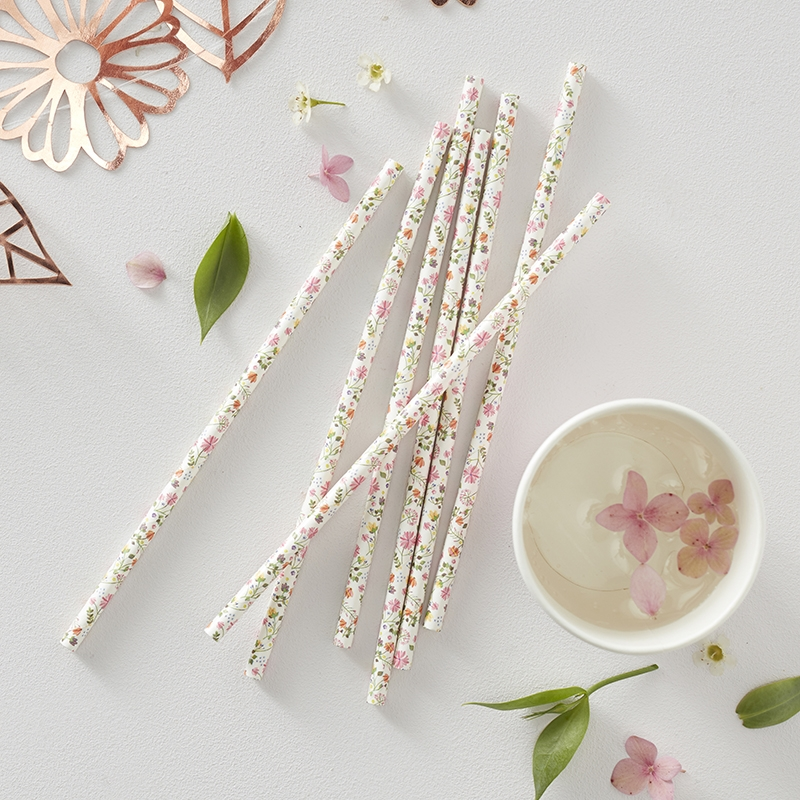 Papier-Strohhalme 'Ditsy Floral' 25 St.