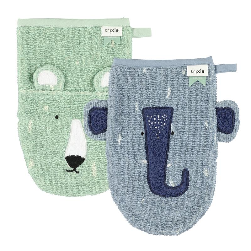Bio Waschlappen 'Eisbär & Elefant' mint/blau