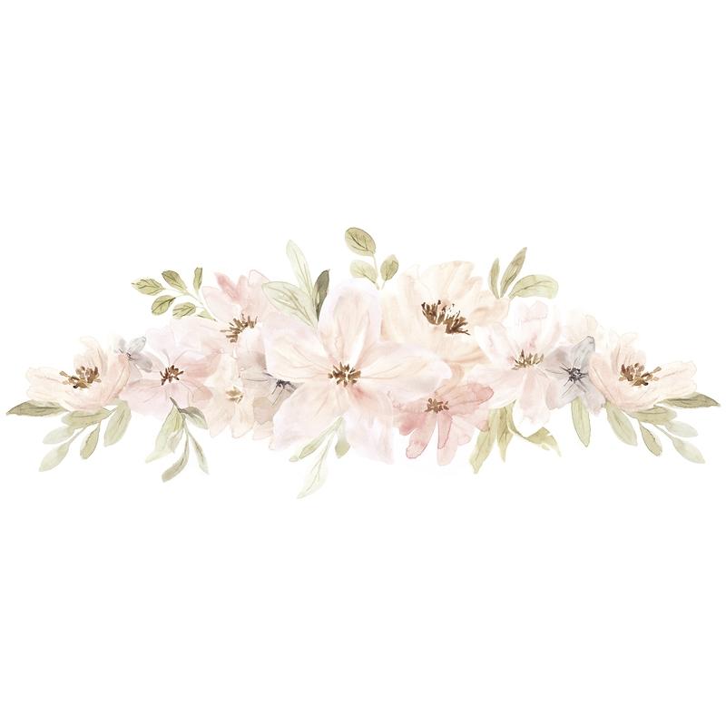 Wandsticker 'Aquarell Blumenranke' puderrosa