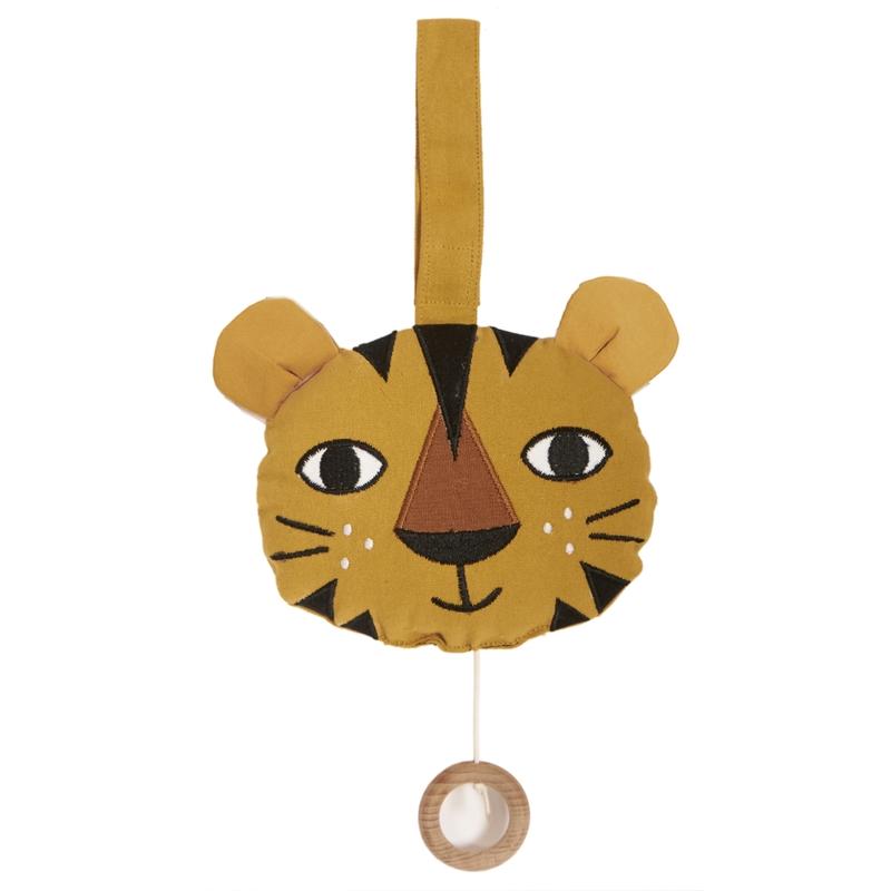 Spieluhr 'Tiger' bestickt senfgelb