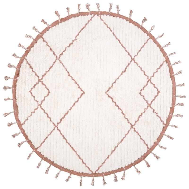 Baumwollteppich rund creme/rost 120cm