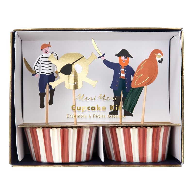 Cupcake Deko-Set 'Pirat' rot/gold 24-tlg.
