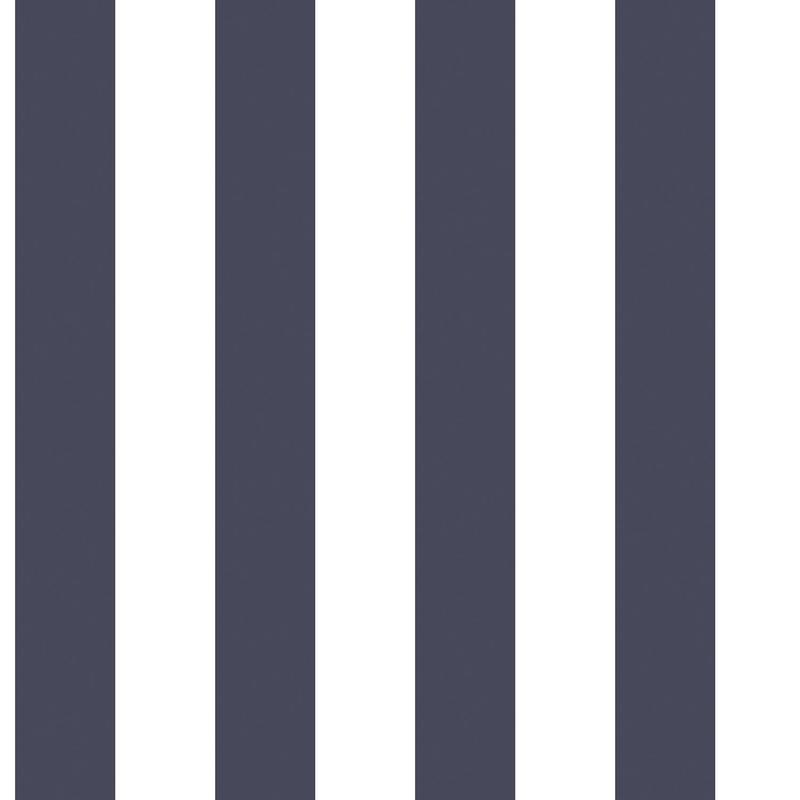 Vliestapete 'Maxi Streifen' marine/weiß
