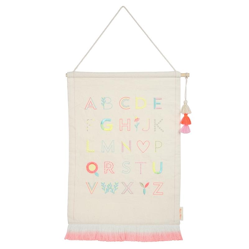 Wanddeko 'ABC' creme/rosa ca. 36cm