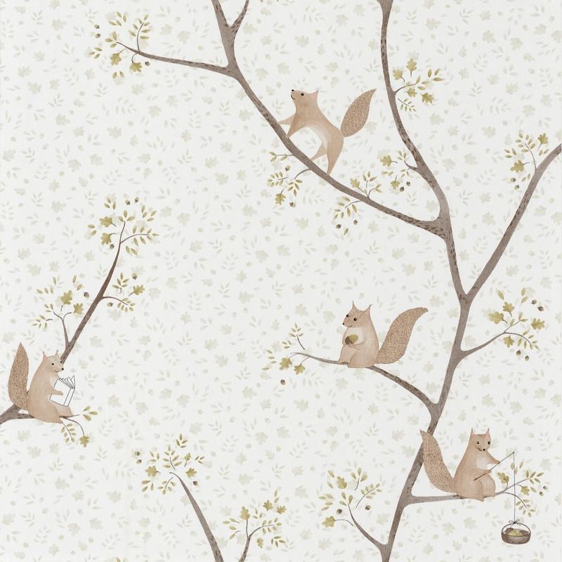 Tapete 'Rose & Nino' Eichhörnchen grün/braun