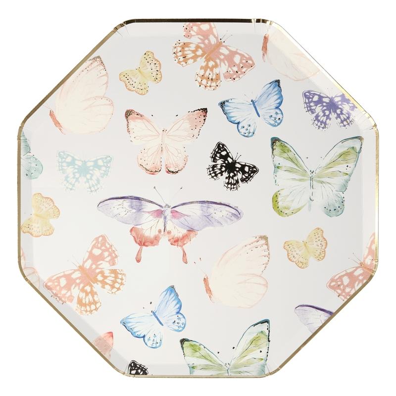 Pappteller 'Schmetterlinge' creme/gold 8 St.