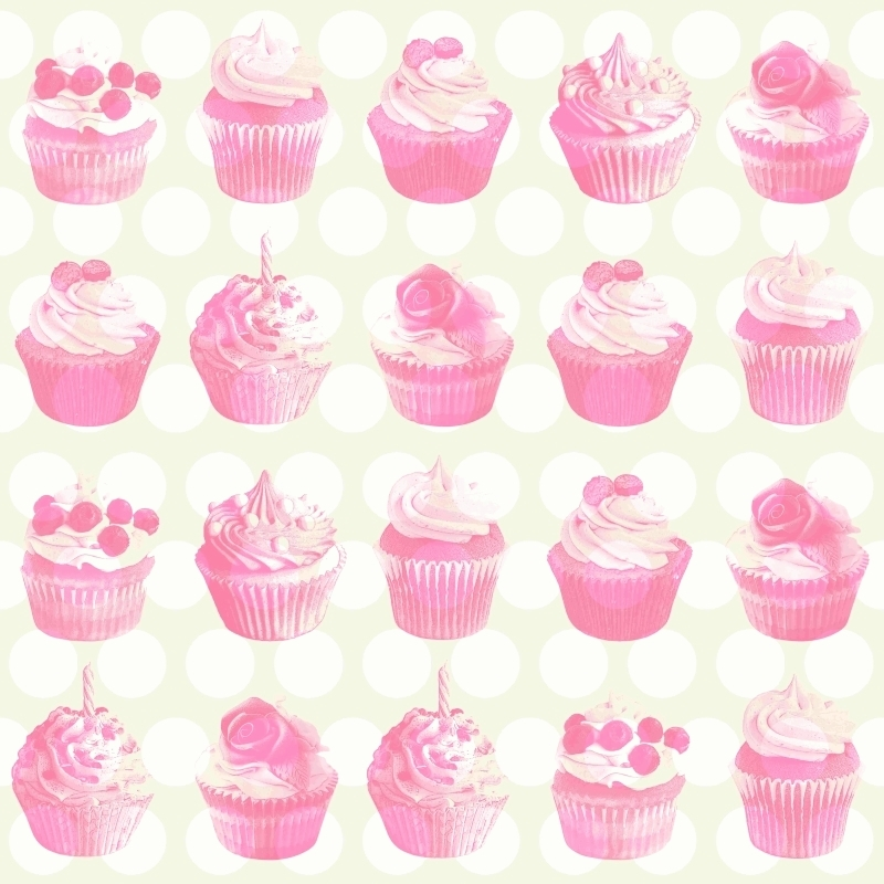 Vliestapete 'Cupcakes' perlmutt/rosa