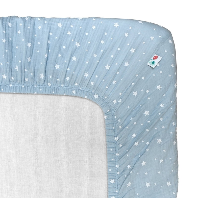 Spannbettlaken 'Sterne' Musselin pastellblau 70x140cm