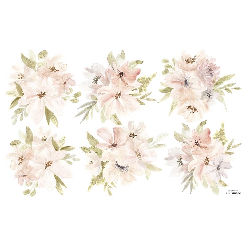 Wandsticker 'Aquarell Blumen' puderrosa