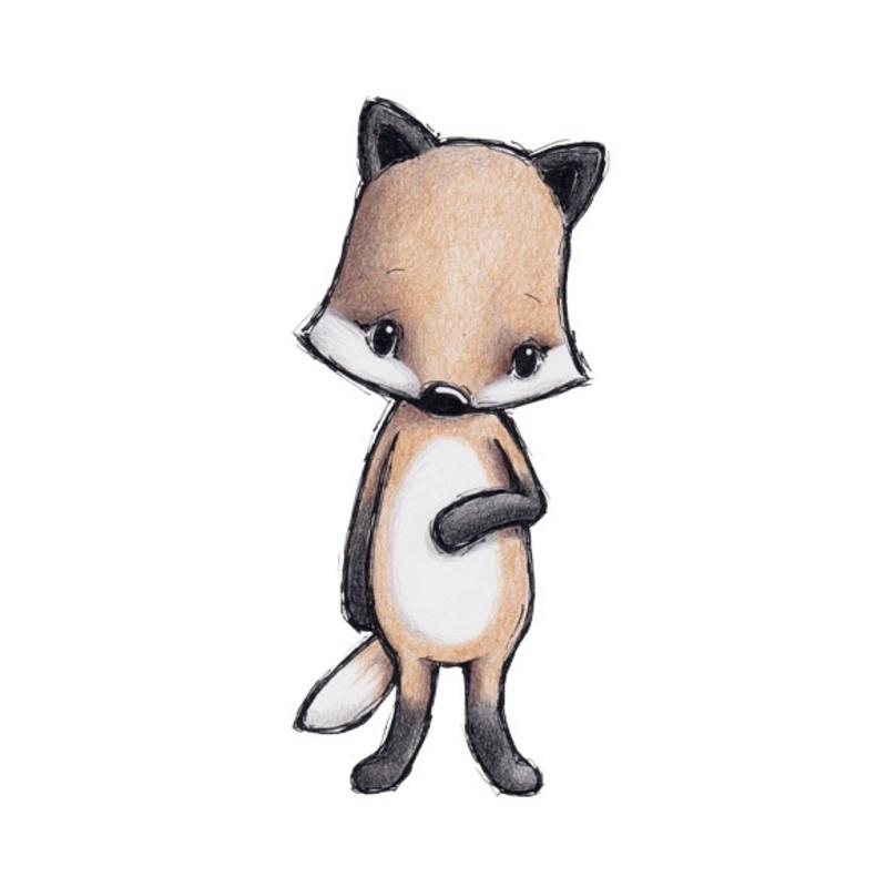Tier-Wandsticker 'Fuchs' handgezeichnet