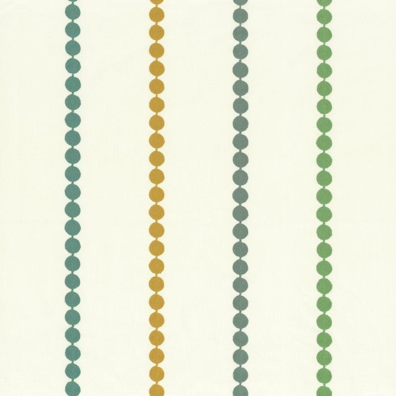 Stoff mit Stickerei 'Rose & Nino' Punkte grün