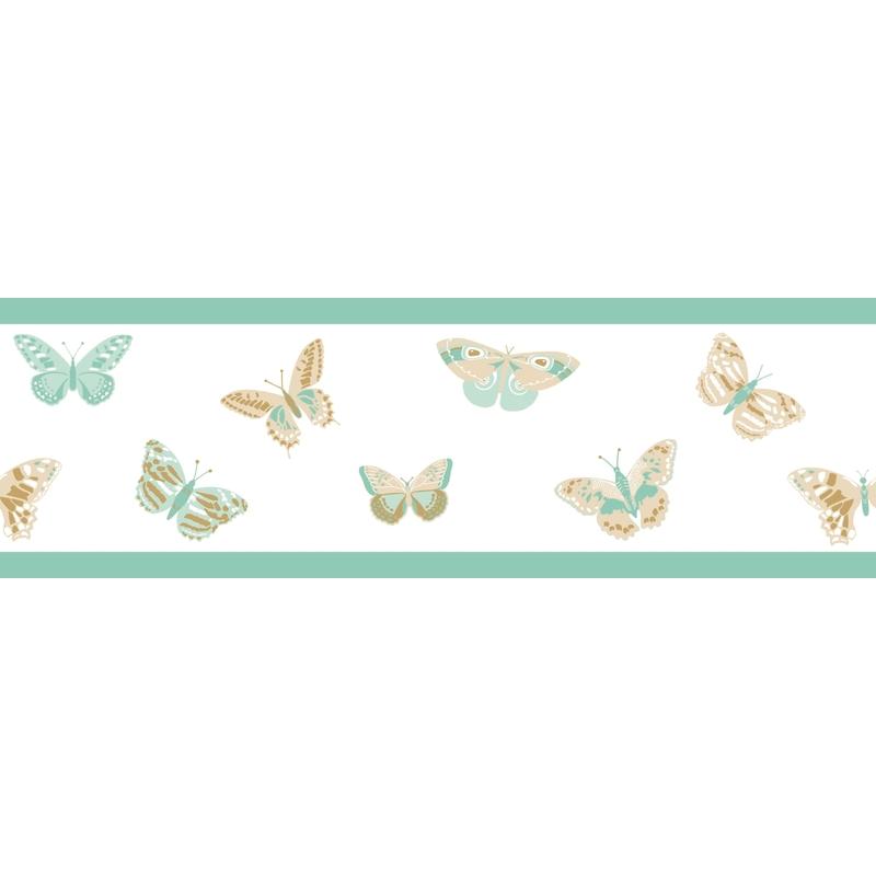 Bordüre 'Schmetterlinge' mint/beige