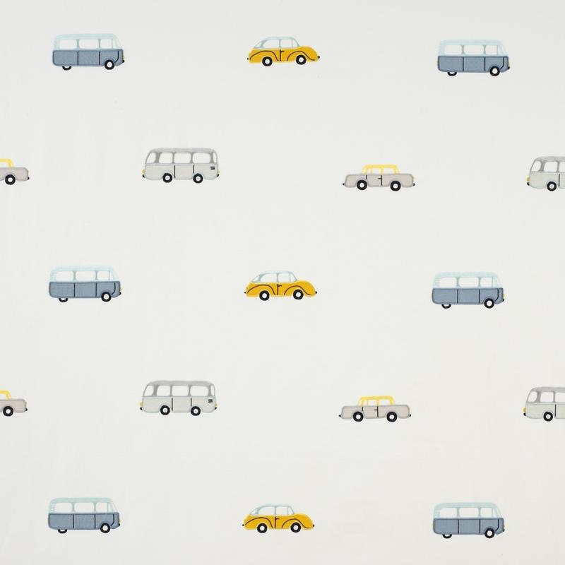 Stoff 'Happy Dreams' Autos Stickerei blau/ocker