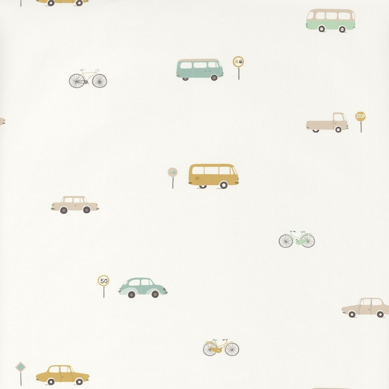 Tapete 'Happy Dreams' Fahrzeuge mint/ocker