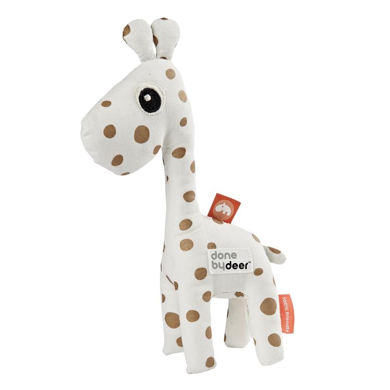 Stoffrassel 'Giraffe Raffi' weiß/gold