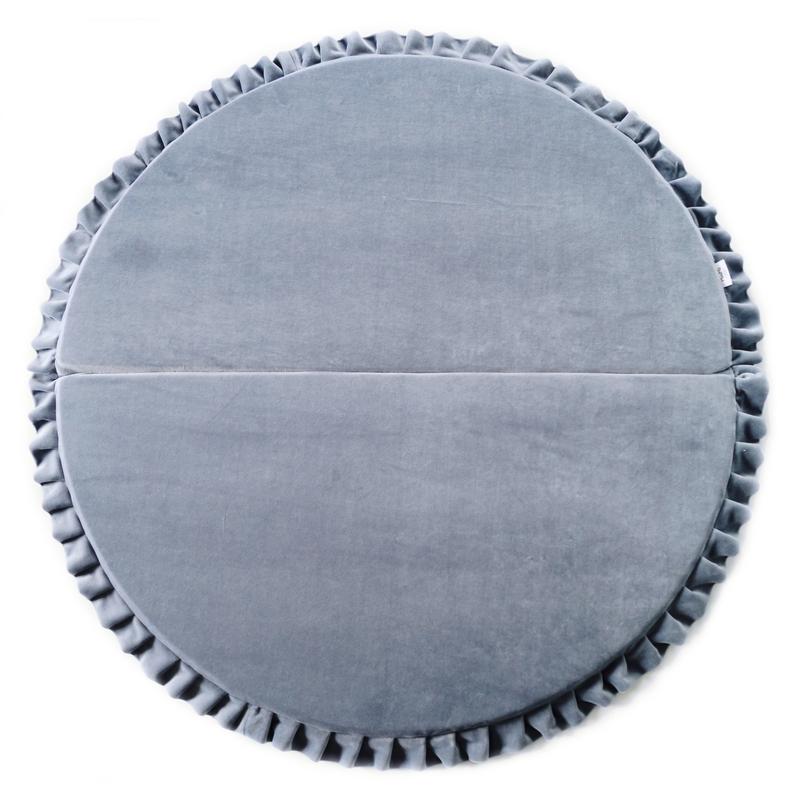 Spielmatratze mit Rüschen grau rund 110cm