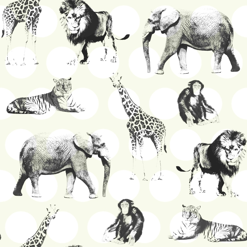 Vliestapete 'Safaritiere & Punkte' perlmutt